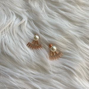 Pearl Diamond Hoop Stud Earrings